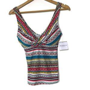 Liz Claiborne NWT Colorful Tank Top Swim Suit